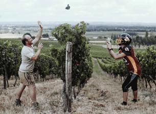 deux joueurs de foot américain dans les vignes